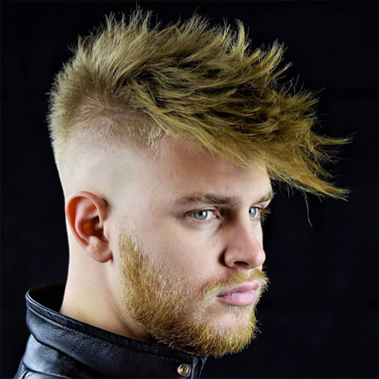 Kiểu tóc Spiky Fringe with High Bald Fade and Beard