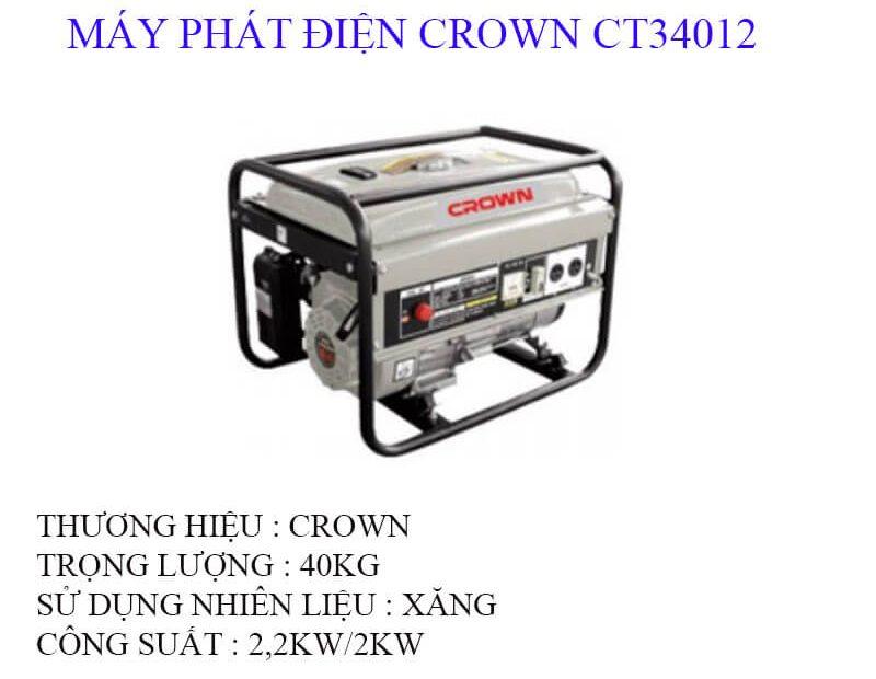 Thông tin về máy phát điện Crown CT 34012