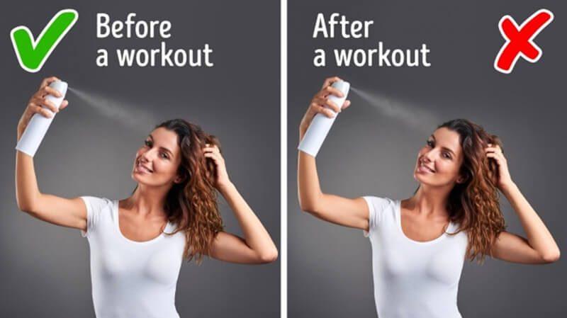 Dùng dầu gội khô trước khi tập thể dục