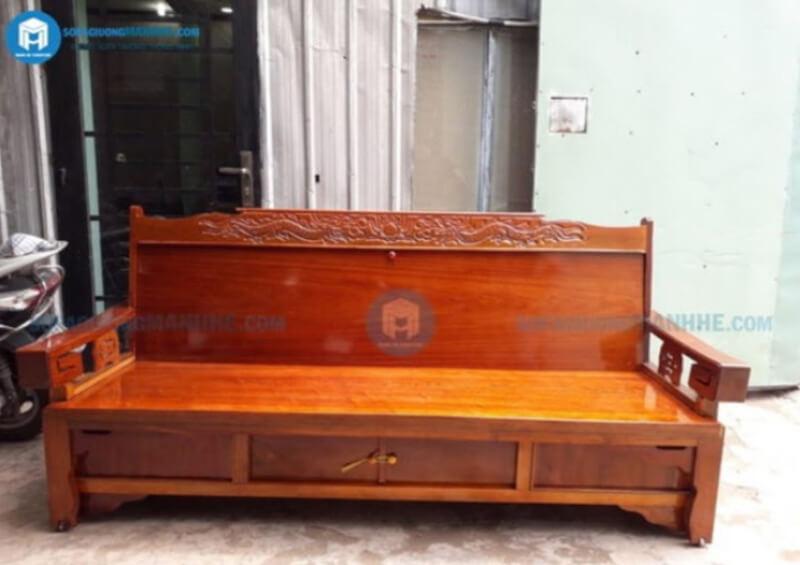 Mẫu giường gấp thành ghế bằng gỗ mã GR01