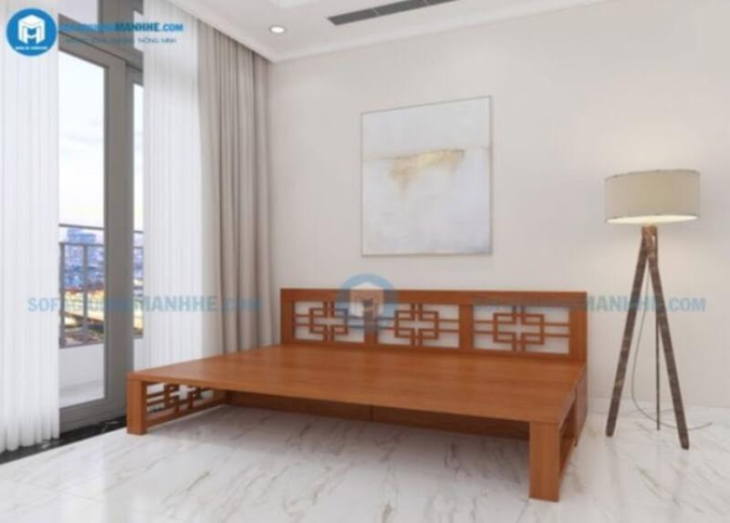 Mẫu giường gấp thành ghế bằng gỗ mã VIP - 01
